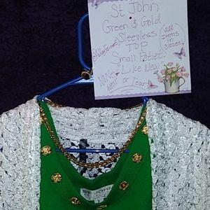 🆕ST JOHN Green Tank w/ Gold embellishments Wow!!